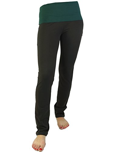 Guru-Shop Damen Leggings, Stretch Sporthose für Frauen, Yogahose aus Bio-Baumwolle, Coffee/farn, Size:L (40), Shorts, 3/4 Hosen, Leggings Alternative Bekleidung (Stretch-hose Bio-baumwolle)