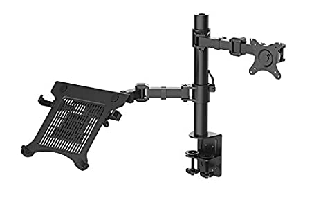 "NBSilence® Laptop Mount & Monitor Mount LCD Arm Desk Stand fits 10""-30"" Monitor 10""-15.6"" Laptop Max Support 22lbs Weight"