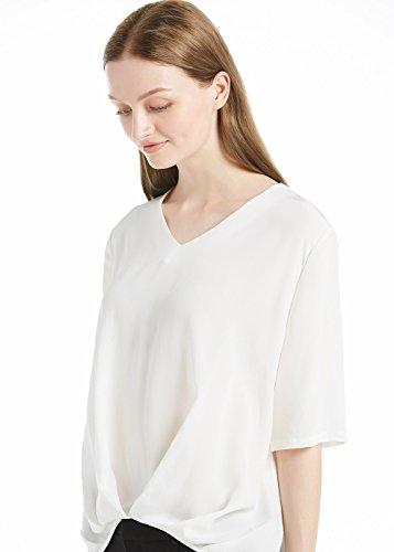 Escote De Básico V Seda Camiseta 100 Lilysilk Estilo Mujer xIqZ1Bpg