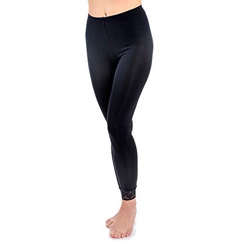 HERMKO 5728 Damen Leggings mit Spitze, Farbe:schwarz, Größe:44/46 (L)