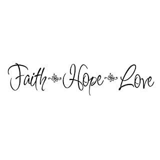 Faith Hope Love Quote Wall Decal Sticker, Creatiees Removable DIY Vinyl Bible Verses Wall Decor Art Mural for Home Living Room Bedroom - Inspirational & Home Warming Gift