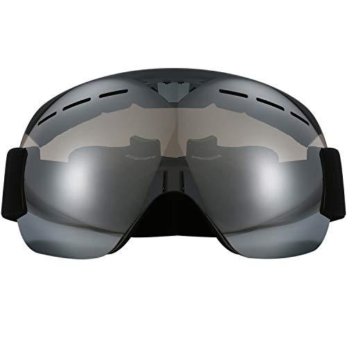 Aroncent Occhiali Sferici da Sci Snowboard Alpinismo Anti-Nebbia Anti-Vento protezione UV Occhi uomo donna regolabile argento