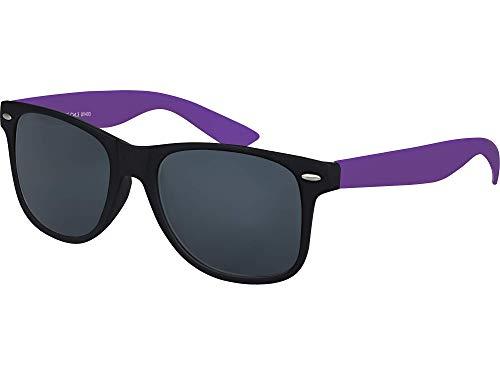 Balinco Hochwertige Nerd Sonnenbrille Rubber im Wayfarer Stil Retro Vintage Unisex Brille mit Federscharnier - 96 verschiedene Farben/Modelle wählbar (Lila/Schwarz - Smoke)