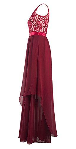 U8Vision Damen Ärmellos Spitze Chiffon Stitching Kleid Abendkleid Langes Brautjungfer Kleider Gr.S-XXL Dunkelrot