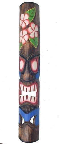 Interlifestyle Tiki Wandmaske mit Blumenmotiv im Hawaii Look in 100cm Länge - Tiki Maske Holzmaske