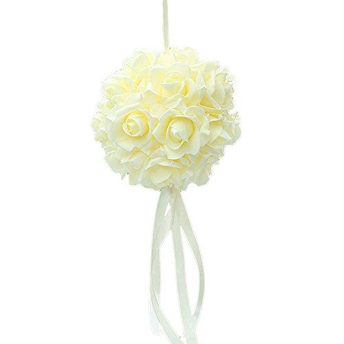 Guoyihua Blumenkugeln für Hochzeit, dekorative Blumen, künstliche Schaumstoffblumen, Rosenkugeln für Hochzeit, Tischdekoration, Schaumstoff, beige, 14 cm