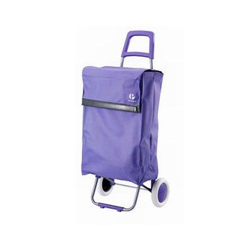 Einkaufstrolley XXL mit Standfuß in lila (Einkaufswagen, Trolley, Einkaufsroller, Einkaufs-Tasche mit Rollen, Microfaser)