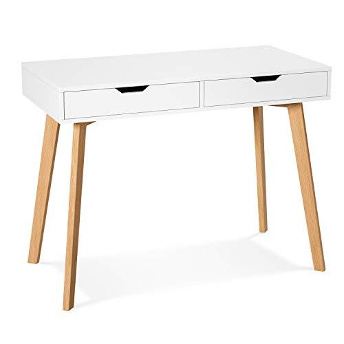 Homfa Schreibtisch mit 2 Schubladen 100x50x77cm(BxTxH) Computertisch Arbeitstisch Schminktisch ohne Spiegel Bürotisch aus Holz und Eiche Nordisches Design modern weiß (Computer Schreibtisch Natur)
