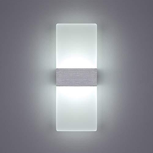 Yafido Aplique Pared Interior LED Yafido Blanco Frio Lámpara de pared Moderna 12W AC 220V plata cepillado...