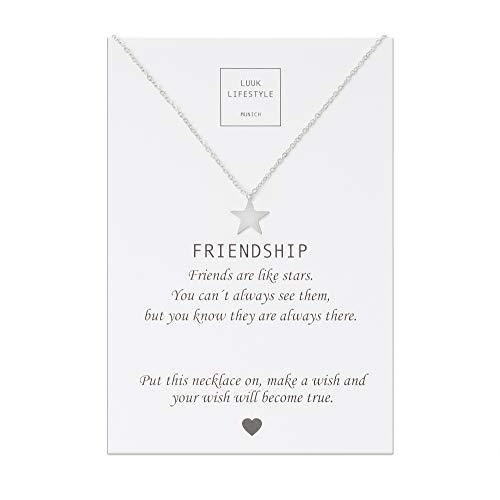 LUUK LIFESTYLE Edelstahl Halskette mit Anhänger und Friendship Spruchkarte, Glücksbringer, Freundschaftskette, Damen Schmuck - Stern Halskette - Silber