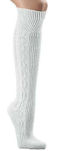 krautwear Herren Damen Trachtenstrümpfe Trachten Kniestrumpf Kniebundhosen-Strümpfe 1 Paar Reinweiß Weiss Hochwertig Gekämmte Baumwolle (43-46)