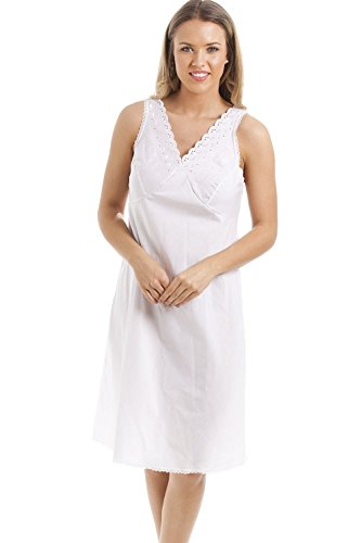 Camille Womens Ladies Classic White Embroidered Chemise Full Slip