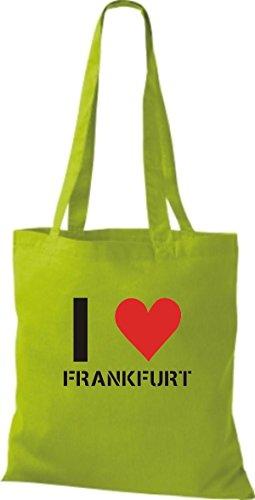 ShirtInStyle Stoffbeutel I LOVE DRESDEN Deine Stadt diverse Farbe lime green