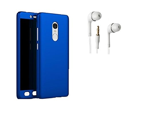 KTC Plus Ipaky 360 Full body cover with Tempered Glass and Free Handsfree for Xiaomi Redmi Note 4 (Mi-Note 4)-Blue