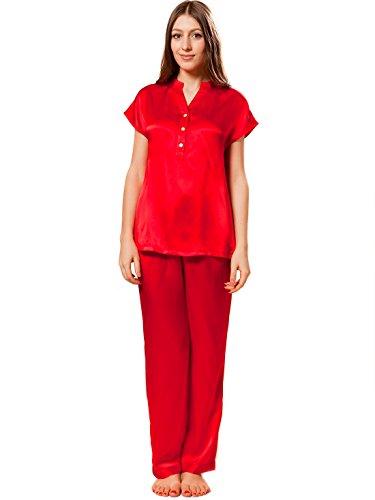Ellesilk Élégant soie pyjama femme avec manches courtes Cerise