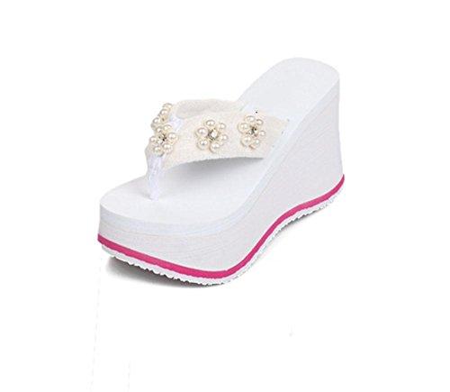 sandali della donna di crosta spessa della medaglia spiaggia selvaggia scarpe prugna diamante pistone di signora US5.5 / EU35 / UK3.5 / CN35
