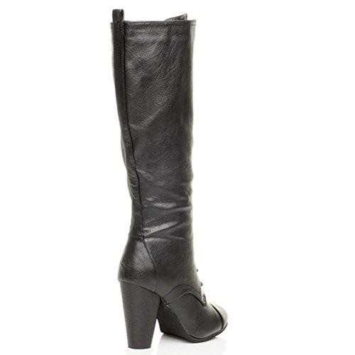 Femmes haute talon large lacets genou mollet motard bottes militaires pointure Noir
