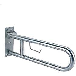 Barra abatible de acero inoxidable de 60 cm con portarrollos