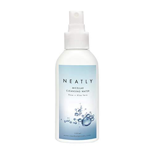 Mizellen-Reinigungswasser von NEATLY I BIO Gesichtsreinigung mit Rosenwasser und Aleo Vera 100ml I Entfernt natürlich Make-up und Schmutz