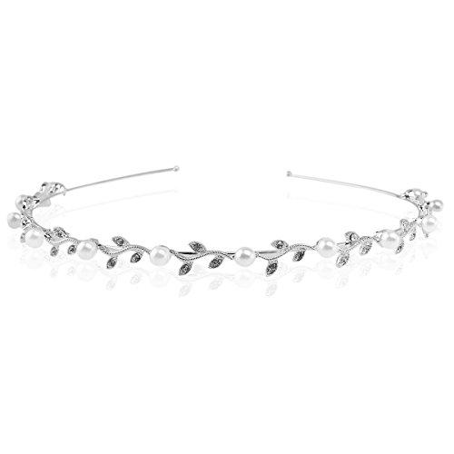 PIXNOR Diadema Cristal Rhinestone Perla Tiara Corona Joyas para Mujer (Plata)