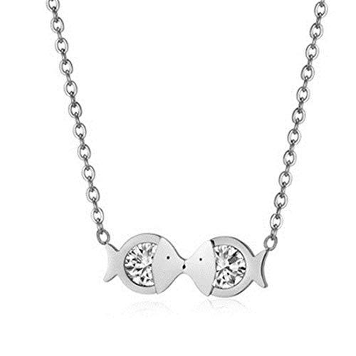 Belle Maison Koreanische Version Platin Farbe Fische Schlüsselbein Kette Kissing Fisch Diamant Weibliche Halskette Bekleidungszubehör -