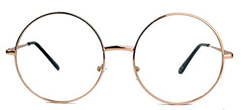 Große runde Fashion Brille Nerdbrille im Blogger Style Klarglas LR63 (Rose Gold) Große Disco