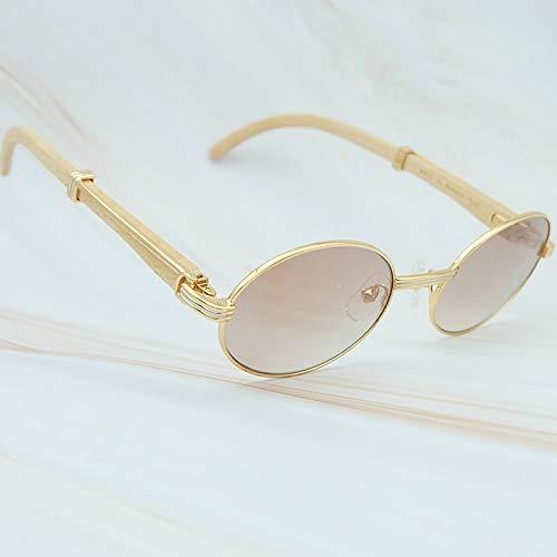 LKVNHP Hohe Qualität Weiß Holz Sonnenbrille Mens Reading Sonnenbrille Sonnenbrille Für Frauen Carter Sun ShadeGold Gradienten Braun