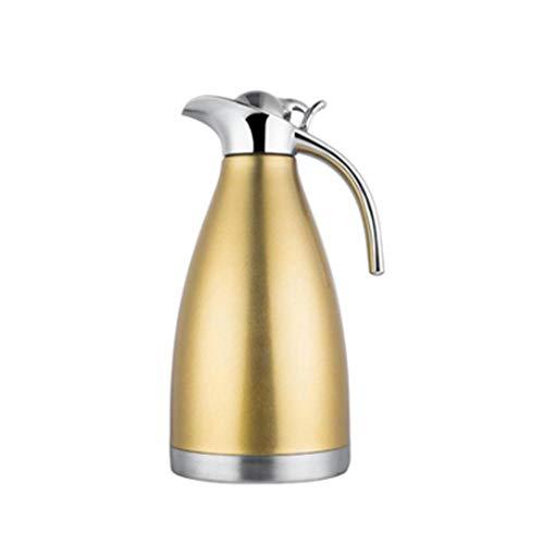 AHLHYJ 2L Thermoskanne_304 Vakuum Isolierkessel große Kapazität Haushalt Teekanne Thermoskanne Kaffeemaschine, Gold