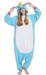Idea Regalo - Kigurumi Pigiama Anime Cosplay Halloween Costume Attrezzatura Adulto Animale Onesie Unisex, Unicorno Blu per Altezze da 140 a 187 cm