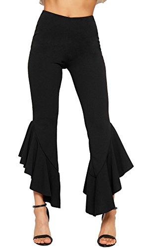 WearAll Womens Asymmetric Frill Hem Trousers Ladies Ruffle Flared Bottom Stretch Plain 6-14