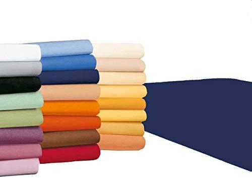 badtex24 Spannbettlaken 90 100 x 200 Spannbetttuch Bettlaken Jersey 100% Baumwolle 24 Farben Navyblau 90x190-100x200cm