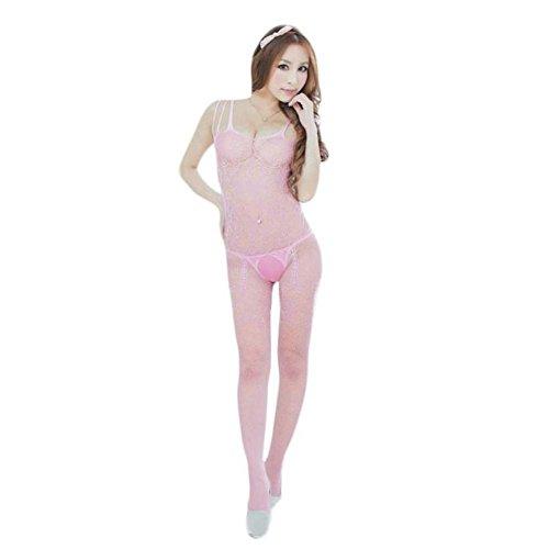 Damen Dessous-Sets Rosennie Frauen Floral Open Crotch Mesh Bodystockings Bodys Erotic Lingerie Reizvoller Siamese Underwear Mesh Fischnetz Strumpf Perspektive Versuchung Unterwäsche (Rosa) (Bodystocking Spitzen Leg)