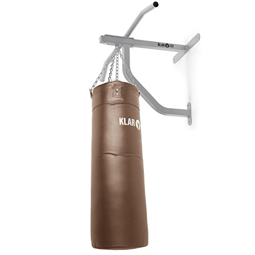 KLAR FIT Big Punch Saco de Boxeo y Barra de dominadas • Entrenamiento Multifuncional • Gimnasio en casa • Mosquetón para Saco • Zona de Impacto 80x30cm • Carga máx. 350kg • Set de Montaje • Marrón