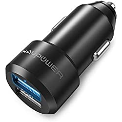 RAVPower Chargeur Voiture Extra Mini Allume Cigare 2 Ports USB 24W / 5V 4,8A iSmart en Alliage d'Aluminium Compatible avec iPhone XS / XS Max / XR / 8 / X / 7, Galaxy S7 / S6 / Edge / Plus etc.-Noir