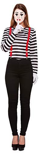 Mime Kostüm Halloween - Fancy Me Damen Gestreiftes Französische Mime Künstler Zirkus Halloween Karneval Kostüm Outfit UK 8-12