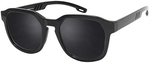 La Optica B.L.M. UV 400 CAT 3 CE Unisex Damen Herren Sonnenbrille Eckig Retro - Einzelpack Glänzend Schwarz (Gläser: Polarisiert Grau)