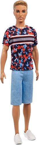Barbie FXL65 - Ken Fashionistas Puppe im Printshirt mit blonden Haaren, Puppen Spielzeug ab 3 Jahren (Puppe Ken Fashionista Barbie)