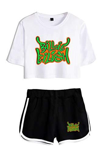 SIMYJOY Billie Eilish Print Set T-Shirt Beheizte Hosen Sommer Große Größe Lose Sweatshirt Täglich Casual Party Set Für Mädchen und Frauen weiß+schwarz XS