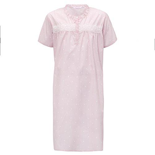Damen Kurzarm Sommer Baumwoll-polyester Traditionell Nachthemd Nachthemd Nachthemden Rosa Vor Ort