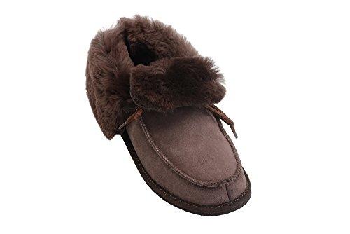 Mokassin Damen Herren Lammfell Hausschuhe echtleder Gefuttert Wolle Pantoffeln Schlappen Schuhe Braun