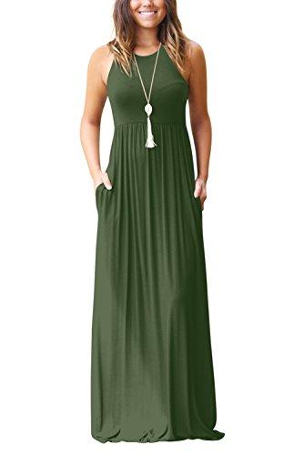 Bequemer Laden Damen Ärmellos Lange MaxiKleid Übergröße mit Seitentasche Armeegrün-2XL