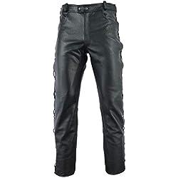 Gaudi-Leathers Pantalones de Cuero - Pantalones de moto - Muy Bueno, 100% Cuero genuin - con Cordones Laterales Racewear - Negro 30