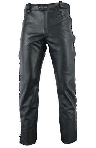 Gaudi-Leathers Pantaloni da moto in pelle pantaloni da uomo moto per motocicletta, moto, biker, jeans - con lacci - colore nero 32