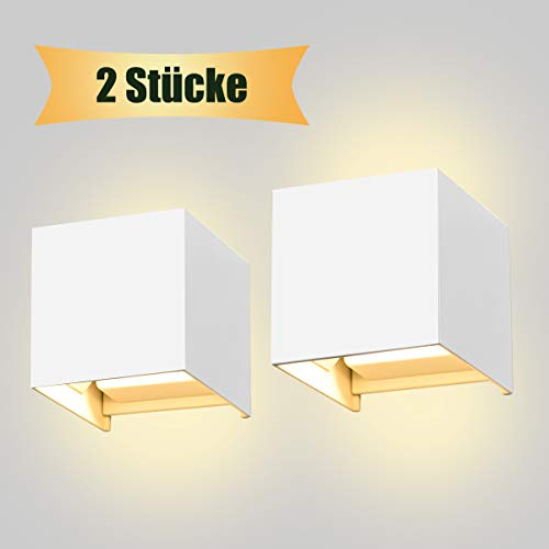 LED Wandleuchte SEALIGHT Wandlampe 7W Wandbeleuchtung IP 67 Lampe Beleuchtung 3000K Warmweiß Licht für Innen- und Außenbeleuchtung Wohnzimmer Schlafzimmer Treppenhaus Flur(weiß 2 Stücke) - 277v Lampen
