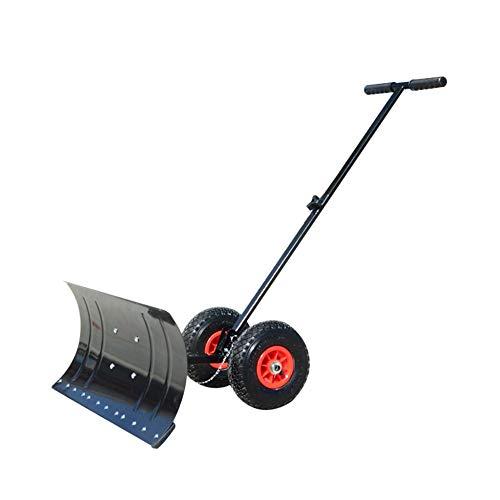 Schwere Schneeschaufel, rollender einstellbarer Schneeschieber mit 2 Rädern, effizienter Schneepflug, geeignet für Auffahrt- / Straßenräumarbeiten