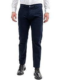 92d60e985d1d31 Pantaloni Uomo Elegante Classico Slim Fit Blu Scuro Tasca America Stretti  Pantalone Cotone Casual Chino Basic