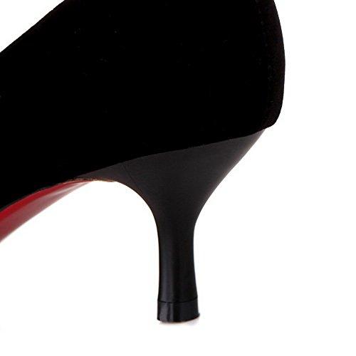 VogueZone009 Donna Puro Plastica Tacco Medio Scarpe A Punta Tirare Ballerine Nero