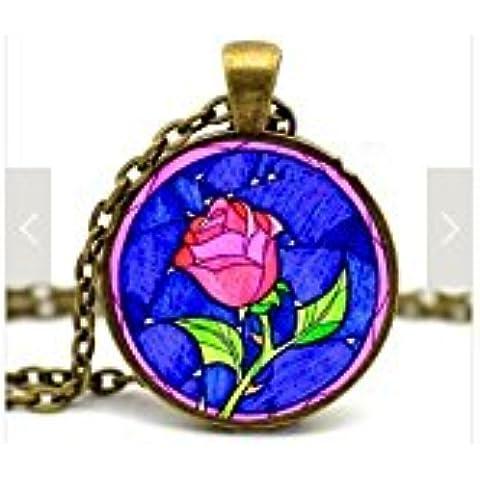 Collar Rosa Mágica (Bella y Bestia)