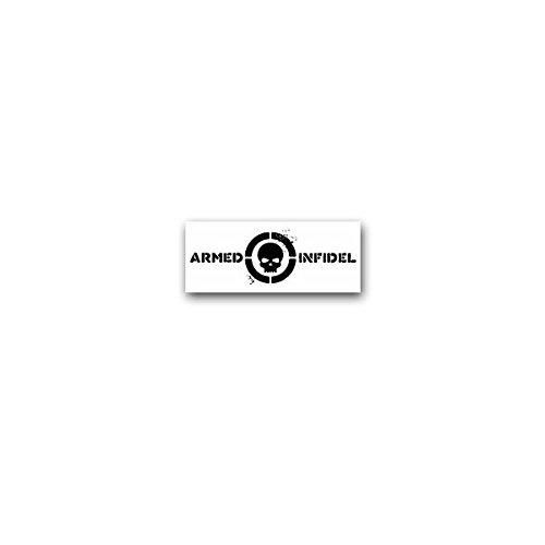 Aufkleber/Sticker -Armed Infidel Ungläubiger Schädel ISAF US Army Soldaten Kämpfer Armee Bundeswehr Militär Humor Anti Terror Abzeichen Emblem 7x3cm #A3609 (Abzeichen Auto Armee)