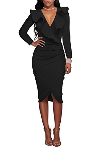 Kleid Rüschen (YMING Damen Midi Kleid Rüsche Kleid Tief V-Ausschnitt Partykleid Bodycon Stretchkleid,Schwarz,XL / DE 42-44)